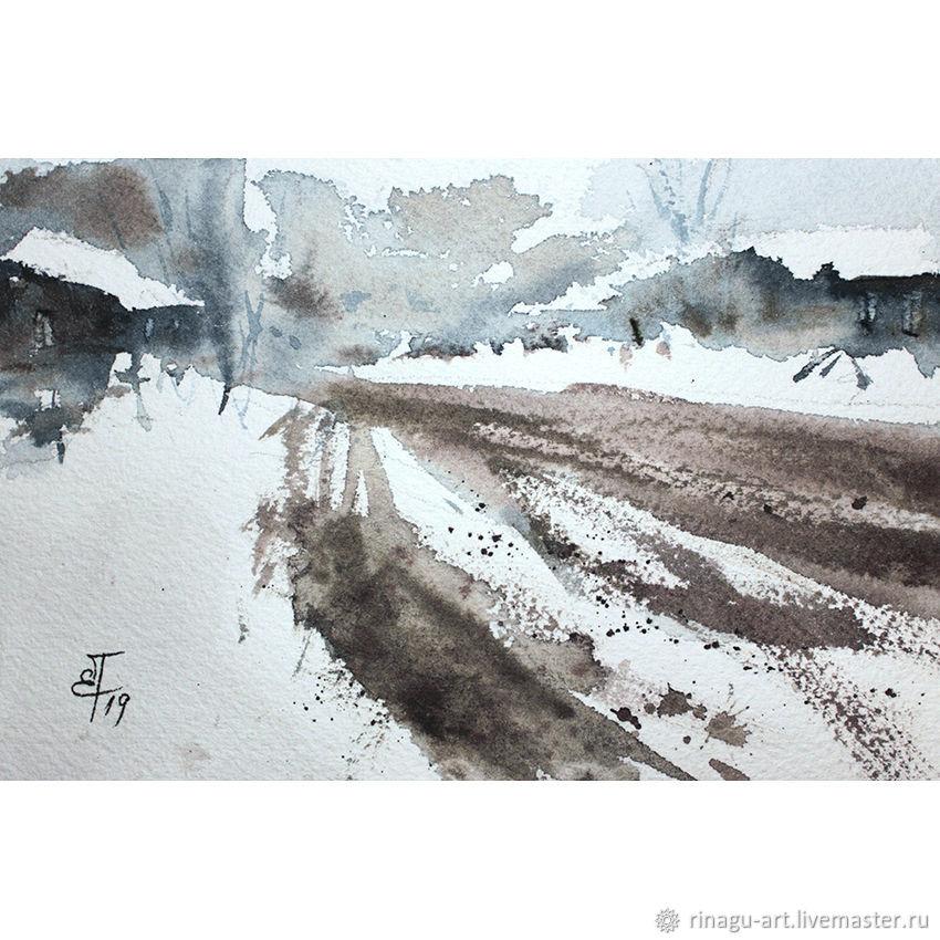 Миниатюра «Дорога», картина акварелью, Картины, Москва, Фото №1