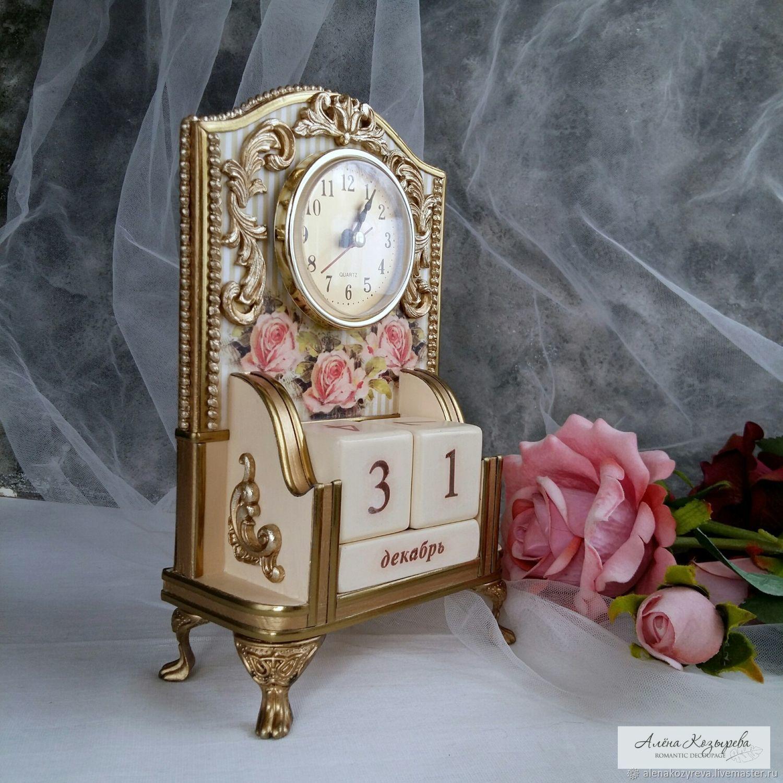 Calendar with clock ' Pink splendor', Calendars, Zeya,  Фото №1