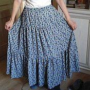 Одежда ручной работы. Ярмарка Мастеров - ручная работа юбка из шифона Васильки. Handmade.