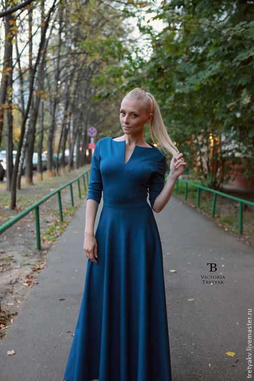 Платья ручной работы. Ярмарка Мастеров - ручная работа. Купить Платье длинное/изумрудное платье/платье в пол. Handmade. Морская волна