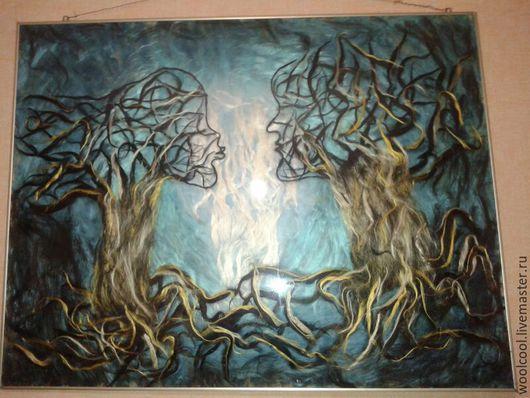 Абстракция ручной работы. Ярмарка Мастеров - ручная работа. Купить Картины из шерсти Люди Деревья. Handmade. Синий, деревья, сюрреализм