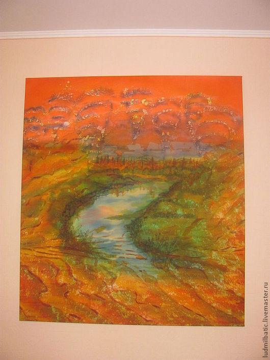 Пейзаж ручной работы. Ярмарка Мастеров - ручная работа. Купить Оазис. Handmade. Рыжий, оранжевый, Батик, батик картина, оазис