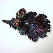 Украшения ручной работы. Ярмарка Мастеров - ручная работа Дубовый лист с желудями, брошь медь, винтажный стиль. Handmade.