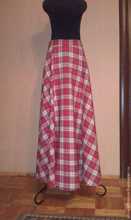 """Юбки ручной работы. Ярмарка Мастеров - ручная работа. Купить Юбка """"Красный тартан"""". Handmade. В клеточку, юбка длинная"""