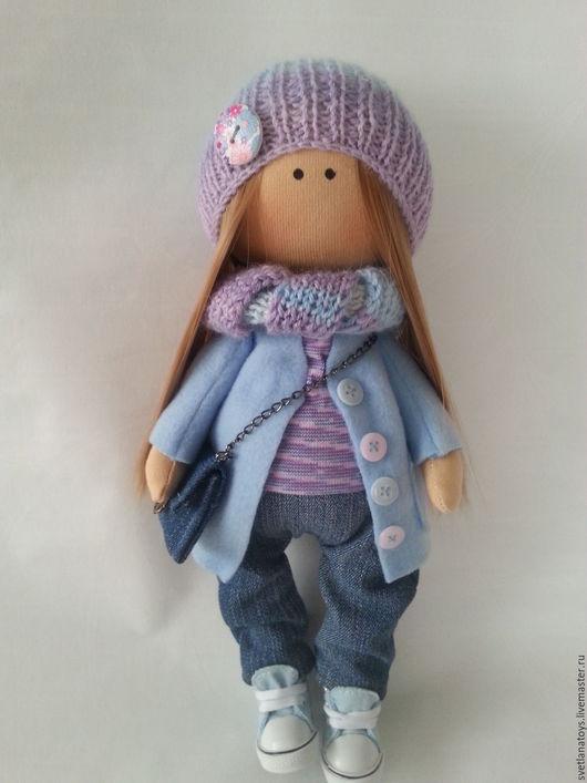 Куклы тыквоголовки ручной работы. Ярмарка Мастеров - ручная работа. Купить интерьерная кукла. Handmade. Сиреневый, кукла текстильная, handmade