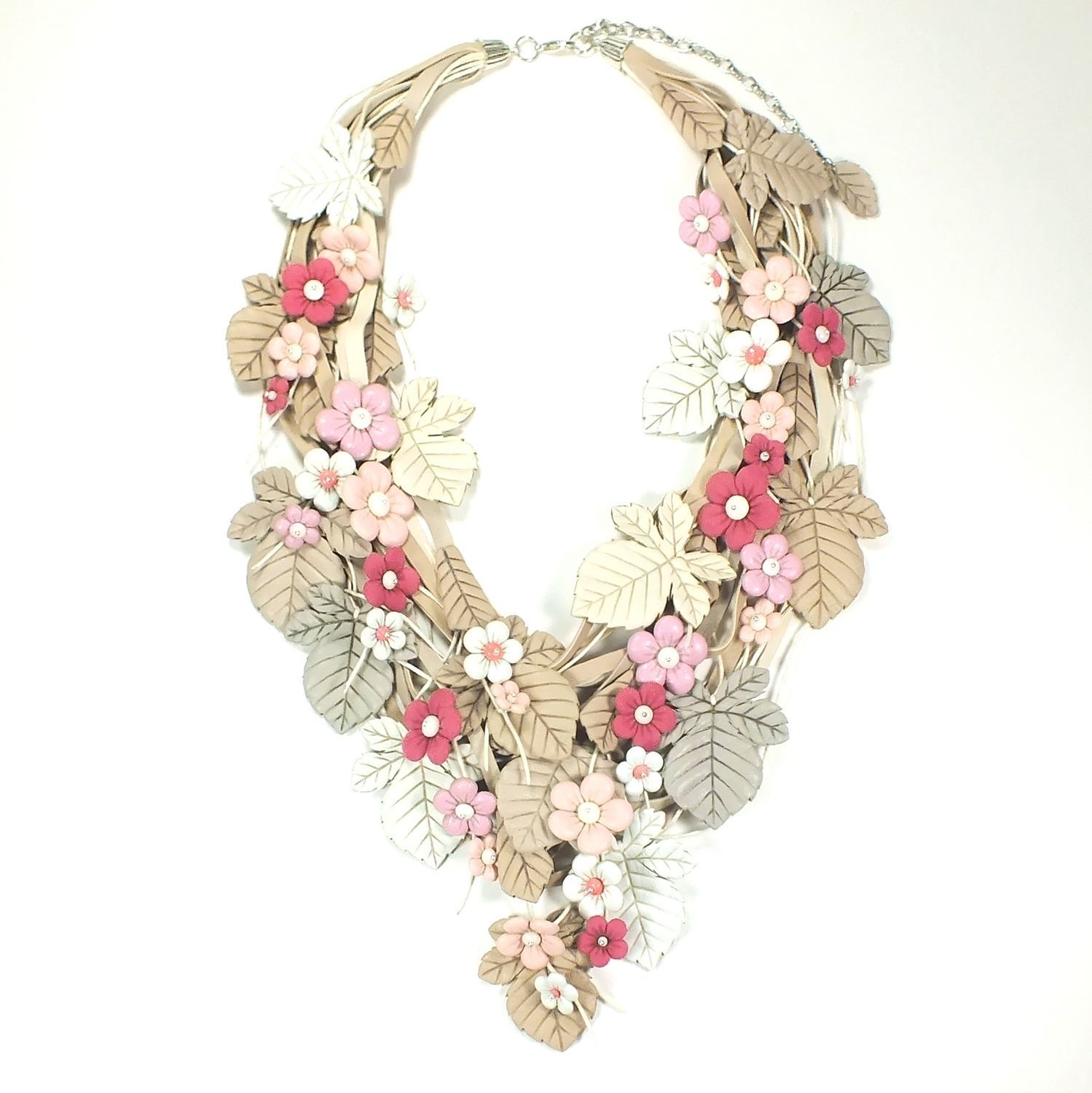 Powdery-White Soufflé Necklace of genuine leather and coral, Necklace, St. Petersburg,  Фото №1