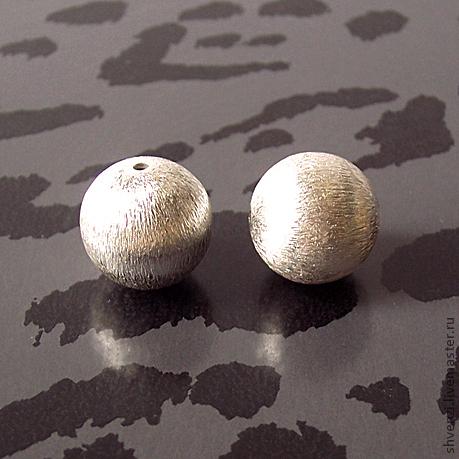 """Бусина """"Текстурный шар"""" ручной работы.\r\nПосеребрение на меди, д. 14 мм, цена за штуку 40 рублей. В наличии ."""