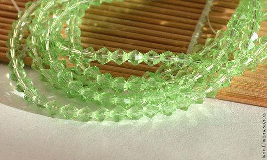 Для украшений ручной работы. Ярмарка Мастеров - ручная работа. Купить Бусины биконусы стекло светло-зеленые 5мм. Handmade.