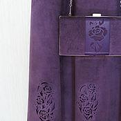 Одежда ручной работы. Ярмарка Мастеров - ручная работа Костюм и клатч из замши аметистового цвета. Handmade.