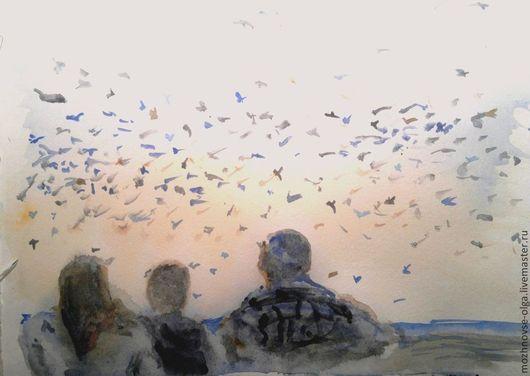 """Люди, ручной работы. Ярмарка Мастеров - ручная работа. Купить Акварель """"Вечер"""". Handmade. Синий, акварельная картина, картина акварелью"""
