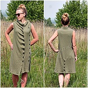 Одежда handmade. Livemaster - original item DISCOUNT! Dress Sundress knit Asymmetry buttoned Khaki. Handmade.