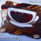 """Для дома и интерьера ручной работы. Ярмарка Мастеров - ручная работа Салфетница """"Ароматный кофе"""", стекло, фьюзинг. Handmade."""