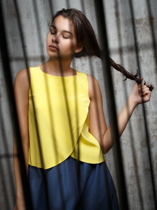 Блузки ручной работы. Ярмарка Мастеров - ручная работа. Купить Блузка из итальянского шелка. Handmade. Желтый, шелковый топ
