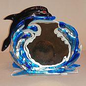 Зеркала ручной работы. Ярмарка Мастеров - ручная работа Зеркала: Дельфин и море.. Handmade.