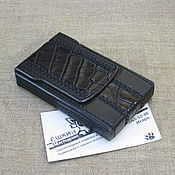 Сувениры и подарки handmade. Livemaster - original item Black cigarette case for thin (Slims) cigarettes with crocodile. Handmade.