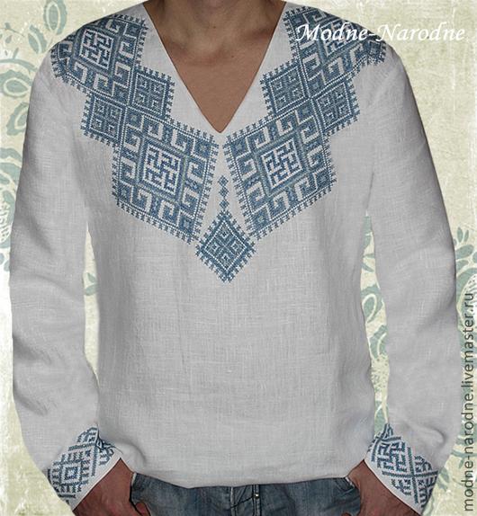 Льняная сорочка с ручной вышивкой Одолень Трава 3. Творческое ателье Modne-Narodne. Модная одежда с ручной вышивкой.
