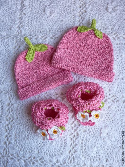 """Для новорожденных, ручной работы. Ярмарка Мастеров - ручная работа. Купить Комплект для фотосессии """"Ягодка"""". Handmade. Розовый, фотосессия младенцев"""