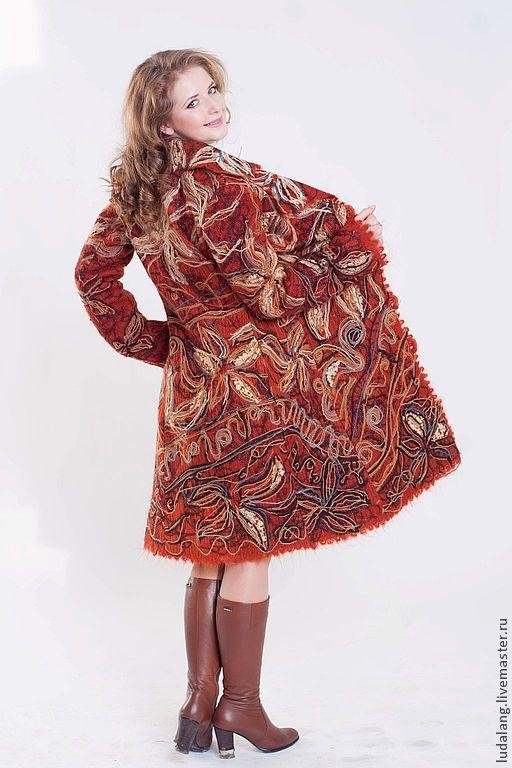 """Верхняя одежда ручной работы. Ярмарка Мастеров - ручная работа. Купить Пальто """"Тигровая лилия"""". Handmade. Рыжий, Дизайнерское пальто"""