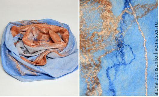 Шарфы и шарфики ручной работы. Ярмарка Мастеров - ручная работа. Купить шарф валяный Orange sunset. Handmade. Разноцветный