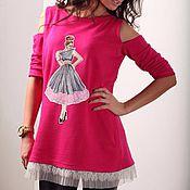 Одежда ручной работы. Ярмарка Мастеров - ручная работа Свитшот фуксия с девочкой. Handmade.