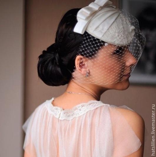 Шляпы ручной работы. Ярмарка Мастеров - ручная работа. Купить Свадебная шляпка. Handmade. Бежевый, однотонный, вуалетка, таблетка, кружево