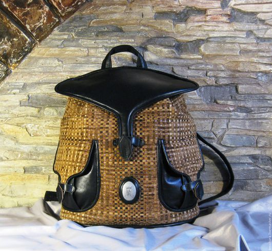 рюкзак кожаный плетёный `Скат`