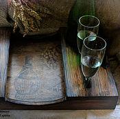 Для дома и интерьера handmade. Livemaster - original item Tray table under bottles, glasses and cheese with fruit. Handmade.