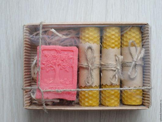 """Подарочные наборы ручной работы. Ярмарка Мастеров - ручная работа. Купить """"Natural"""" мыло+свечи. Handmade. Комбинированный, восковые свечи, фитиль"""