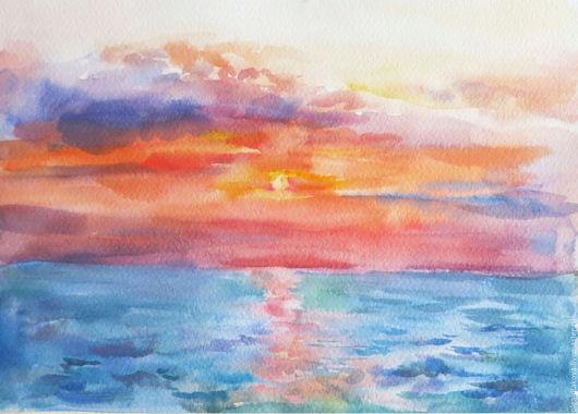 Пейзаж ручной работы. Ярмарка Мастеров - ручная работа. Купить Закат на море. Handmade. Брусничный, закат, розовый, акварель