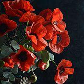 Цветы и флористика handmade. Livemaster - original item Scarlet poppies .Botanical sculptures from polymer clay.. Handmade.