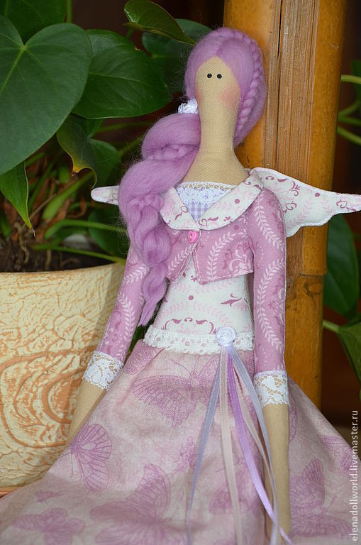 Куклы Тильды ручной работы. Ярмарка Мастеров - ручная работа. Купить Тильда,,Лавандовый ангел,,. Handmade. Бледно-сиреневый