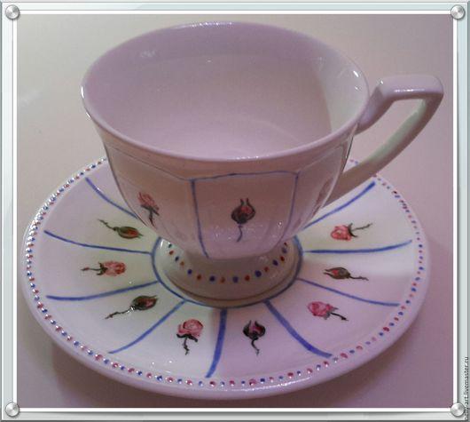 """Сервизы, чайные пары ручной работы. Ярмарка Мастеров - ручная работа. Купить Чайная пара Розы в стиле """"Ньон"""". Handmade."""