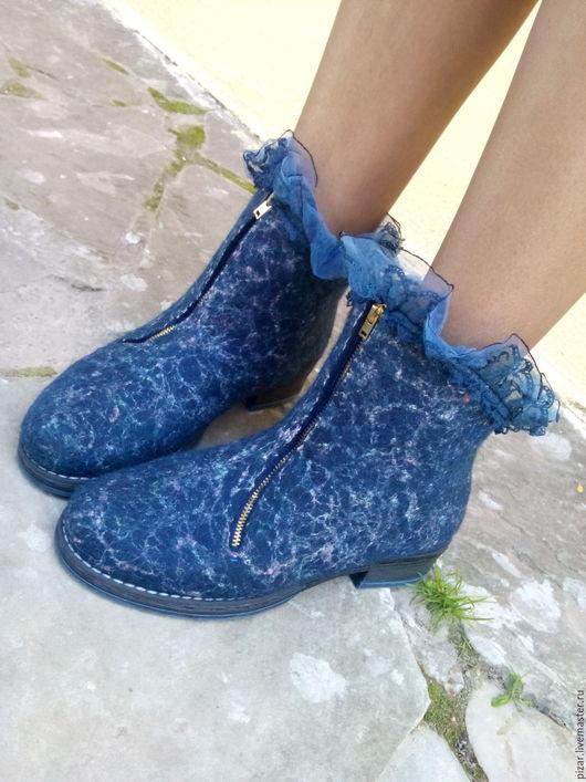 """Обувь ручной работы. Ярмарка Мастеров - ручная работа. Купить Ботиночки из шерсти """"Джайпур"""". Handmade. Тёмно-синий, сапоги"""