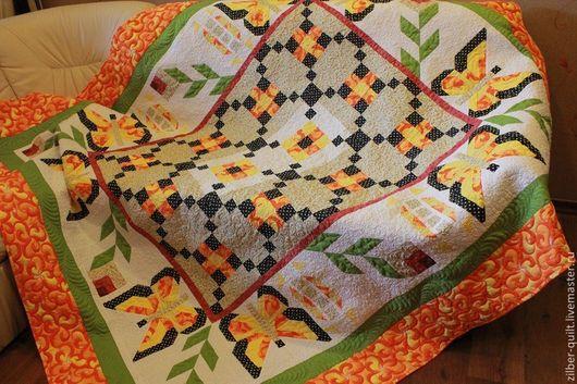 Текстиль, ковры ручной работы. Ярмарка Мастеров - ручная работа. Купить Покрывало лоскутное стеганое Бабочки, пэчворк. Handmade.