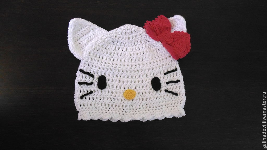 Gala Hats and scarves handmade. HAT-CAT  Hello Kitty  knitted summer. Gala 6746870e6c8