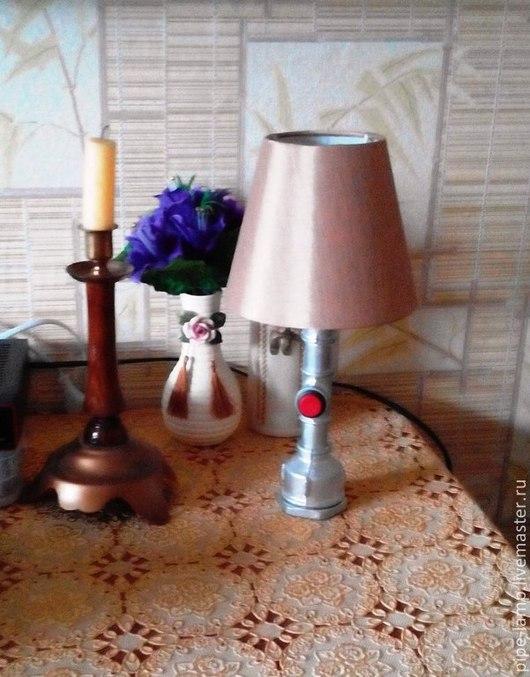 Освещение ручной работы. Ярмарка Мастеров - ручная работа. Купить Настольная лампа из труб Эта. Handmade. Серебряный, лампа, светильник