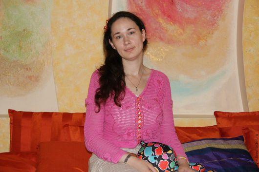 Кофты и свитера ручной работы. Ярмарка Мастеров - ручная работа. Купить Розовый кардиган с объёмными цветами. Handmade. Розовый кардиган
