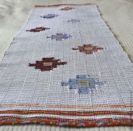 Текстиль, ковры ручной работы. Ярмарка Мастеров - ручная работа. Купить Половик ручного ткачества(№12). Handmade. Белый, цветы