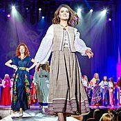 Комплект из длинной юбки и жилетки в стиле русское этно