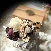 """Свадебный салон ручной работы. Ярмарка Мастеров - ручная работа Подушечка и бутоньерка """"Горький шоколад"""". Handmade."""