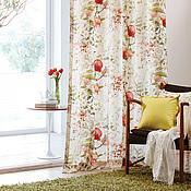 """Для дома и интерьера ручной работы. Ярмарка Мастеров - ручная работа Портьера, ткань для штор из льна """"Гранаты"""". Handmade."""