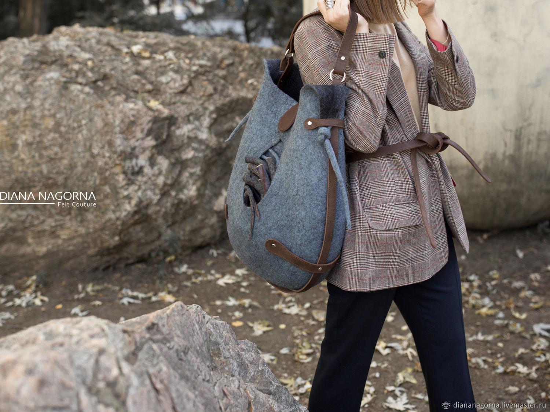 Set of fittings for a felt handbag 'Drop'(BROWN), Classic Bag, Kharkiv,  Фото №1