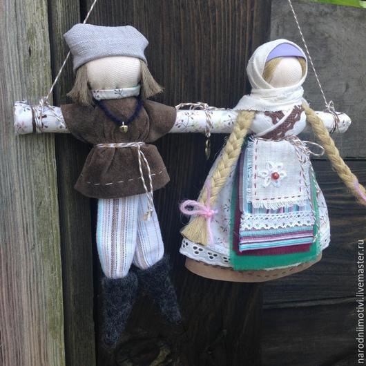 Народные куклы ручной работы, Купить куклы-обереги Неразлучники, семейный оберег, оберег на счастье, оберег на любовь, русский стиль, обережные куклы, бирюзовый, сиреневый, коричневый, лен