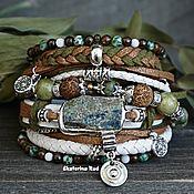 Украшения handmade. Livemaster - original item Leather bracelet made of jasper in the BOHO style
