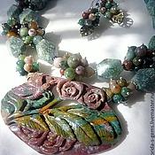 Jewelry Sets handmade. Livemaster - original item 2нити NECKLACE + EARRINGS - JASPER, AGATE, large CARVED CAMEO AGATE beads. Handmade.