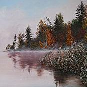 Картины и панно ручной работы. Ярмарка Мастеров - ручная работа Картина маслом. Туман над озером. Handmade.