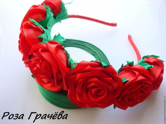 Диадемы, обручи ручной работы. Ярмарка Мастеров - ручная работа. Купить Ободок-венок с розами, ободок с цветами, ободок с розами. Handmade.