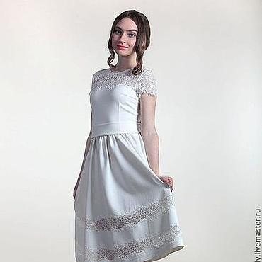 Одежда ручной работы. Ярмарка Мастеров - ручная работа 0614: Платье из джерси с кружевом. Handmade.