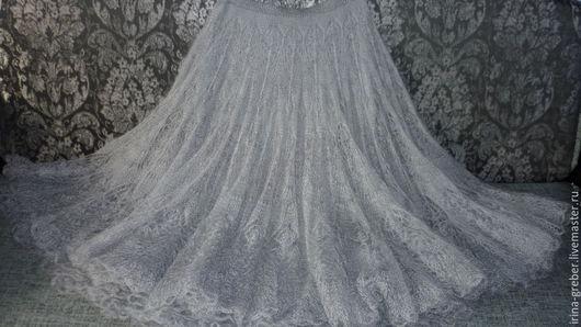 """Юбки ручной работы. Ярмарка Мастеров - ручная работа. Купить Юбка вязаная """"Голубка"""". Handmade. Серый, красивая юбка"""