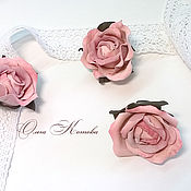 Украшения handmade. Livemaster - original item Set leather ring and earrings Tea roses. Handmade.